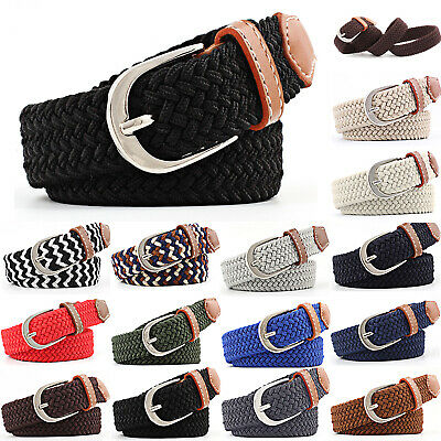 Mens Womens Canvas Belt Buckle Stretch Elastic Braided Elasticated Belts Unisex