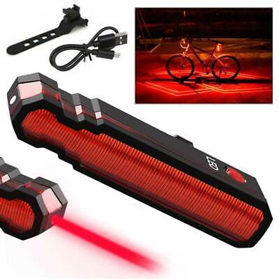 Mountain Bike Bicycle Rechargeable USB  Laser & 5 LED Rear Tail Light Cycle Lamp