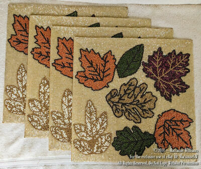 4 Fall Thanksgiving Beaded Placemats Chargers Leafs In Fall Colors  Leaves