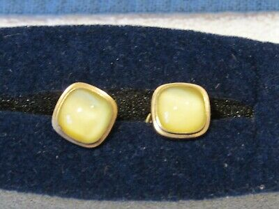1920'S  Vtg Antique Art Deco Sta Lokt Snap Cuff Links Gold Filled Yellow Stone