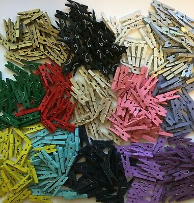 BB MINI WOODEN PEGS  25mm pk of 50 mini peg CHOICE OF COLOURS craft christmas
