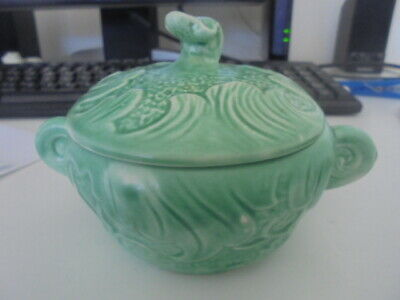 1950s Vintage SylvaC English Pottery 1699 green bowl & lid