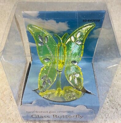 Hand Finished Glass Ornament ~ Glass Butterfly on Mirror Base ~ Turquoise w// Tri