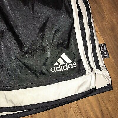 Black ADIDAS Shiny Wet Look Polyester Soccer Shorts vtg CLIMALITE Mens LARGE