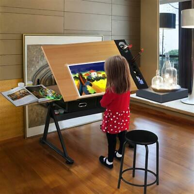 Adjustable Drafting And Art Table W/ Stool Non Woven Tilting Angle Adjustment