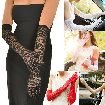 Sexy Floral Lace Gloves Women Long Wedding Gloves Arm Elbow Bridal 50CM Dressing