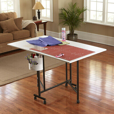 White/Black Portable Hobby Table W/ Lightweight Metal Frame + Locking Casters