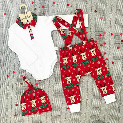 Toddler Baby Clothes Outfits Boy Girl Kids Romper Hat Cap Set Christmas Gift UK