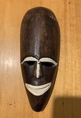 Vintage Wooden Hand Carved  wall Hanging Mask Smile Face White Mouth Nose Eyes