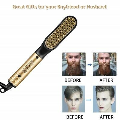 Electric Men's Beard Straightening Heated Hair Comb Brush Styler Gift Gold+Black