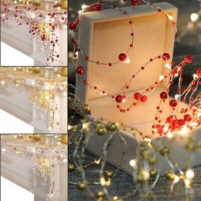 Cordless Lighted Silver Berry-Beaded Holiday Christmas Garland 3 Colors UK