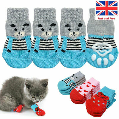 4Pcs Pet Dog Cat  Knitted  Non-slip Socks Puppy Knit Warm Bottom Shoes Slippers