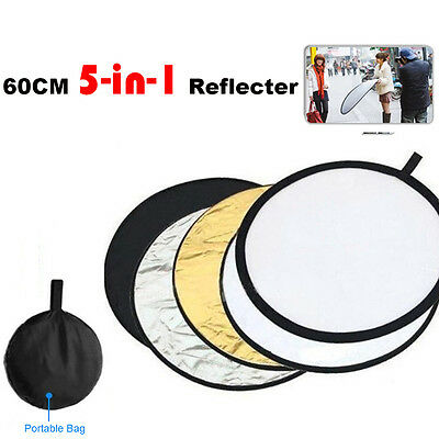 """24"""" 60cm 5 in 1 Photography Photo Light Collapsible Disc Reflector Handle b HY"""