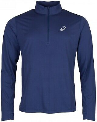 Asics Silver Half Zip Long Sleeve Mens Running Top - Navy