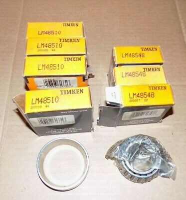 New Timken Bearing (4) LM48510 & (3) LM48548 Cup & Cone