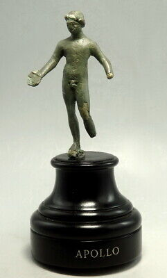 Greek Etruscan Bronze Nude Statuette Of Apollo. Nice Patina (M815)