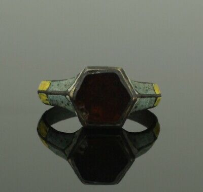 RARE ANCIENT VIKING BRONZE & ENAMEL RING WITH GARNET - CIRCA 9th/10th CENTURY