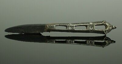SUPERB ANCIENT MEDIEVAL SILVER HANDLED KNIFE - CIRCA 14th-15th C  AD