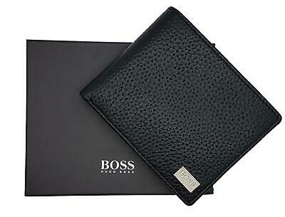 New Hugo Boss Bifold Leather Coin Wallet Black Credit Cards Boxed Crosstown