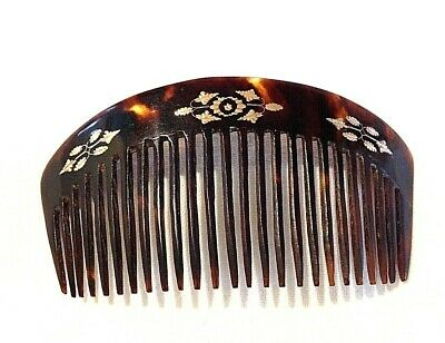 Antique Victorian or Edwardian gold pique work hair comb tortoiseshell Perfect