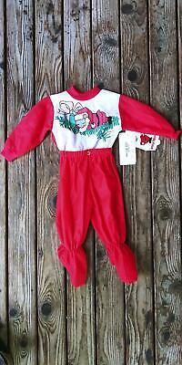 Vtg NWT Baby Boy Girl 6 Month JCPenney Santa Mouse Christmas Snap Pajama Sleeper