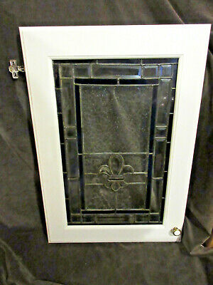 "Pair of Stained Glass Cabinet Doors  ""FLEUR-DE-LIS"" Hubert Work 20.75"" x 30.25"""