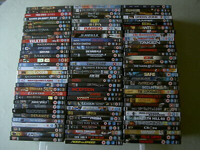 Job lot collection of 100 Action/Blockbuster/Epic/War UK DVDs all EX/NM