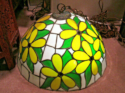 Stained Glass Mid Mod Swag Hanging Pendant Flower Hubert Work Yellow/Greens SS
