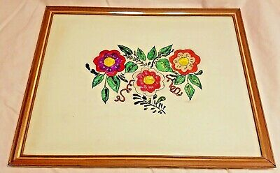 Vintage Reversed Painting on Glass & Foil Art Picture Flowers