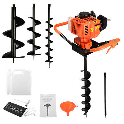 """3HP 63cc Gas Earth 2 Man Post Hole Digger 2 Person Machine +3"""" 4.5"""" 8"""" Auger Bit"""