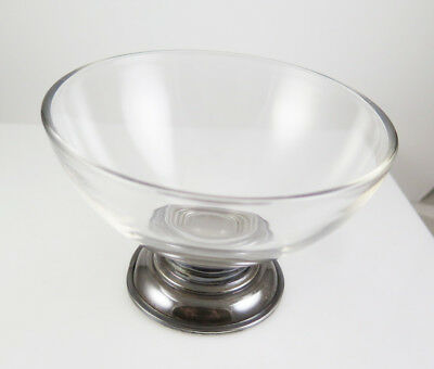 Vintage Frank M Whiting Footed Sterling Silver Base Glass Mayonnaise Bowl 1940s