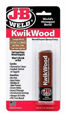 J-B Weld 8257- KwikWood - Light Tan Wood Repair Epoxy Putty +PL