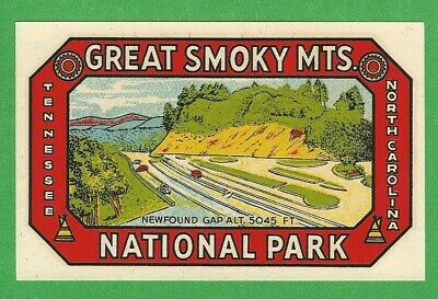"Vintage Original 1946 Goldfarb ""Great Smoky Mts."" National Park Water Decal Art"