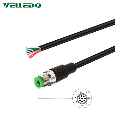 VELLEDQ Field Assembly Pre-Wired M12 8-Pin Male Sensor Connector 2M Cable PVC