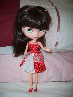"Vintage 12"" Blyth Clone Style Doll Dress Red Shoes Jointed Eye Changing Colours"