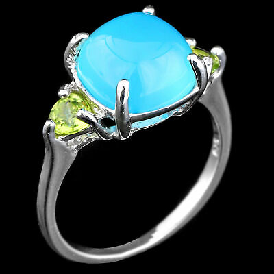 100% Natural 10Mm Blue Chalcedony & Peridot Genuine Gem Silver 925 Ring Size 7