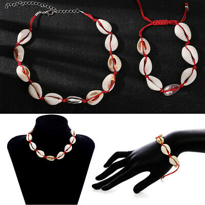 Seashell Conch Rope Chain Bracelet Shell Necklace Bracelets Set Cowrie Choker
