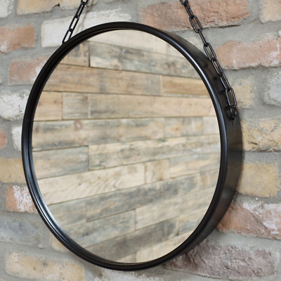 Round Industrial Mirror Black Metal Frame Hanging Chain Wall Mounted Retro Decor