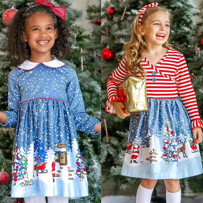 Toddler Baby Girls Kids Christmas Cartoon Casual Party Long Sleeve Dress Outfit
