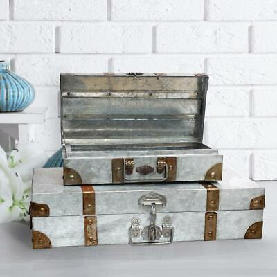 2 Piece Vintage Suitcase Trunk Old Fashioned Luggage Storage Metal Boxes Decor