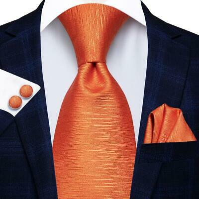 USA Solid Plain Orange  Mens Tie Silk Necktie Hanky Cufflinks Business Wedding