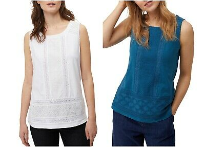 NEW Ex White Stuff Lydia TEAL Lace Holi-Yay Jersey Vest RRP £32.50 Now £10