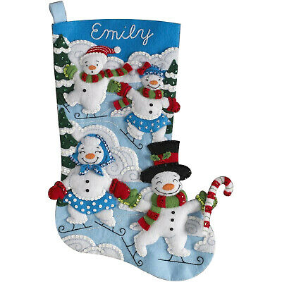 Felt Embroidery Kit ~ Plaid/Bucilla Snowman Family Outing Stocking #86894