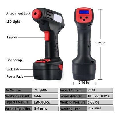 1 Set Digital LCD Air Compressor Cordless Electric Inflator Car Tire Pump Kit