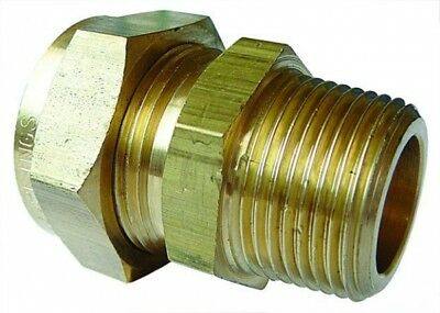 "WA-7074/11 Wade Brass Male Stud Coupling Tube OD 3/4"" x BSPT male Thread 1/2"""