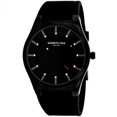 Kenneth Cole New York Date 44mm Black Ion Plated Rubber Men's Watch 10031356