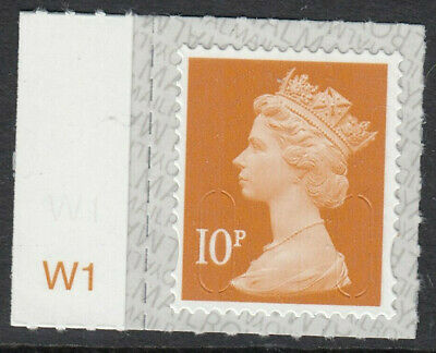 GB 2019 10p S/A MACHIN M19L SBP2u CYLINDER W1 on SELVEDGE MNH From Counter Sheet