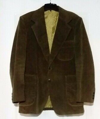 SEARS THE MENS STORE Vintage Green Corduroy Blazer Mens Size 42 Dry Clean Button