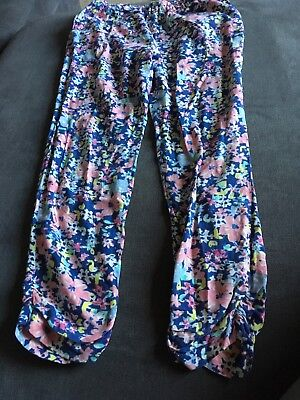 Next Girls Blue Flower Pattern Trousers Size 9 Years Good Condition