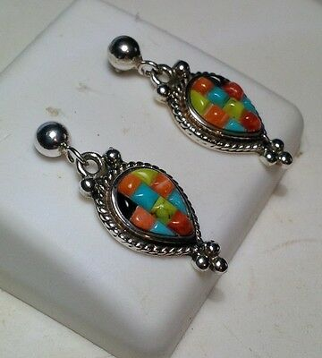 Mosiac Turquoise Oyster Shell Lapis Victorian Style Sterling Silver Earring3316A